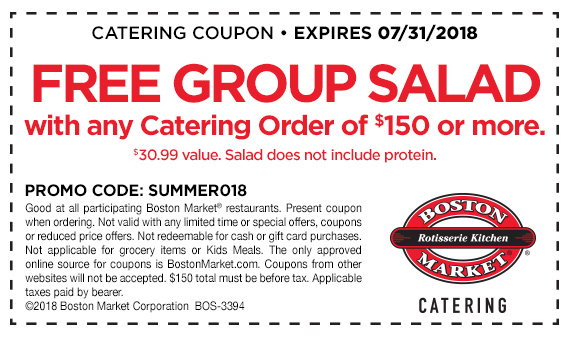 Get a free group salad when you purchase a catering order of $150 or more