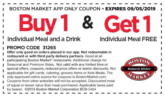 On Boston Market app orders, buy 1 Individual Meal and a drink and get 1 Individual Meal free