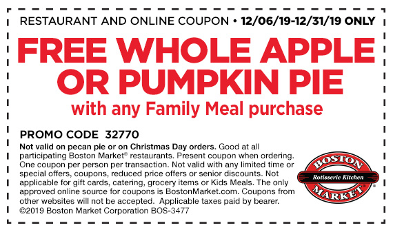 Get a free whole apple or pumpkin pie with any Family Meal purchase