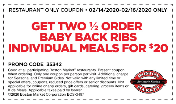 Get 2 Half Order Baby Back Ribs Individual Meals for $20