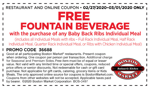 Get a free beverage with any Ribs Individual Meal