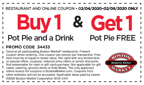 Buy 1 Pot Pie and a drink and get 1 Pot Pie free