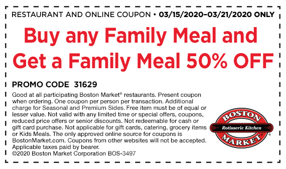 Get 50% off a Family Meal when you buy a Family Meal and a drink