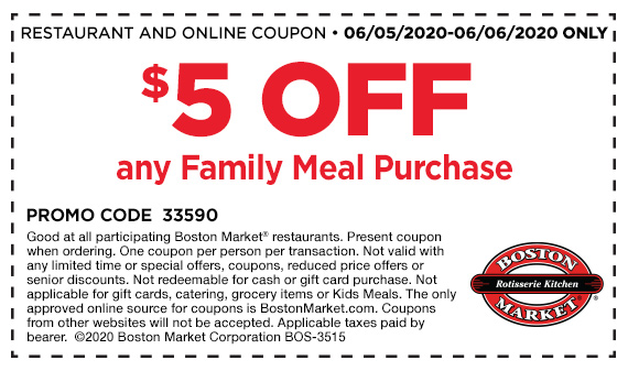 $5 Off Family Meal Coupon