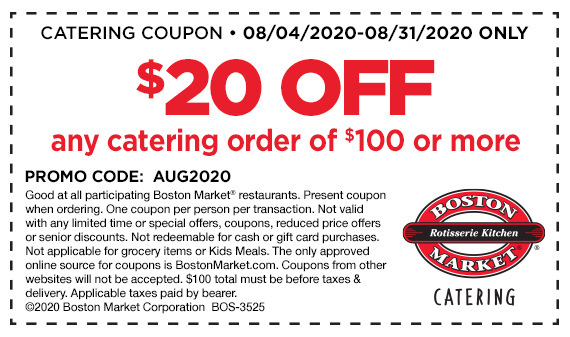 $20 off $100 catering order coupon