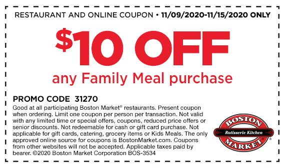 $10 Off Family Meal Purchase